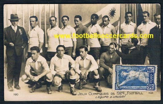 1924 Uruguay Andrade Nasazzi AN Paris Olympic Games postcard with stamp & cancel